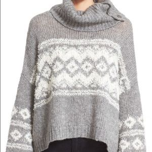 Free People Fair Isle Split Neck Sweater